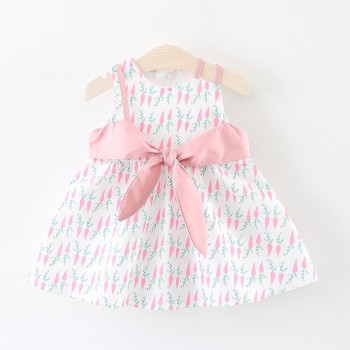 Sweet Carrot Pattern Faux-two Dress for Baby Girl