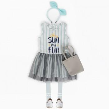 Sun and Fun Striped Sleeveless Tulle Dress for Girls