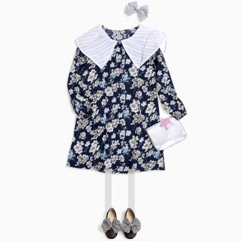 Pretty Turn Down Collae Long Sleeves Floral Dress for Girls