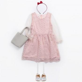Sweet Hollow Out Mesh Dress in Pink for Girls