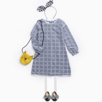 Sweet Solid Long Sleeves Plaid Dress for Girls