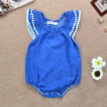Pretty Lace-trimmed Flutter-sleeve Romper in Blue for Baby Girl