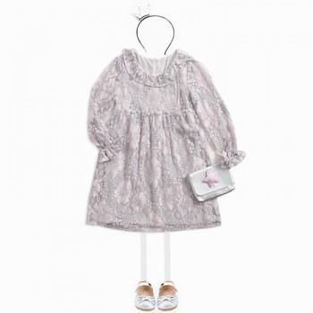 Sweet Floral Long-sleeve Lace Dress for Girls