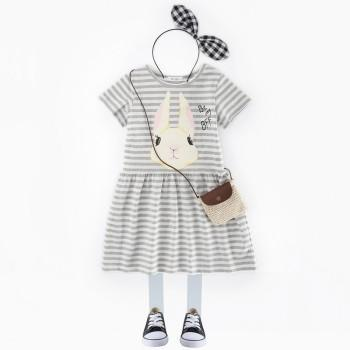 Cute Rabbit Print Striped Short-sleeve Dress for Toddler Girl