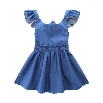 Trendy Ruffle-sleeve Denim Dress for Toddler Girl