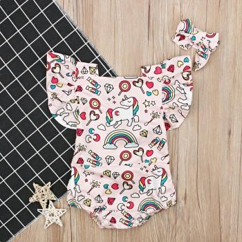 Sweet Flutter-sleeve Unicorn Print Bodysuit and Headband for Baby Girl