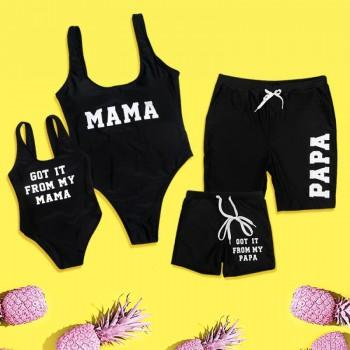 Sweet Letter Print Family Matching Swimsuit in Black