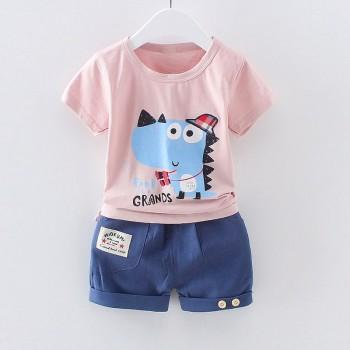 Cute Dinosaur Print Short-sleeve T-shirt and Shorts Set for Baby and Toddler