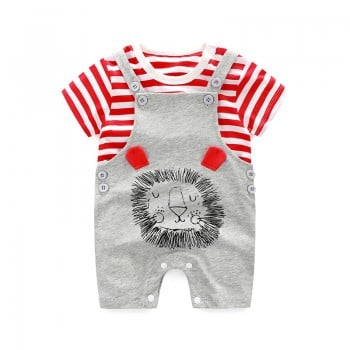 Striped & Gery Lion Printed Cotton 2-Piece Tee and Overalls Set for Baby