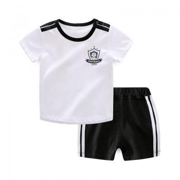 2-piece Comfy Short Sleeves Sports Set for Baby Boy