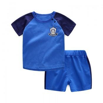 2-piece Sporty Short-sleeve Top and Shorts Set for Baby Boy in Blue