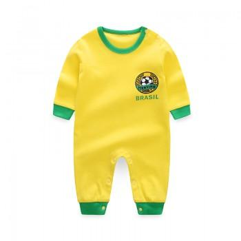 Comfy Football Print Long-sleeve Jumpsuit in Yellow for Baby Boy