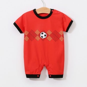 Baby's Cool Soccer Print Romper in Red