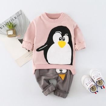 2-piece Cute Penguin Long-sleeve Top and Pants for Baby