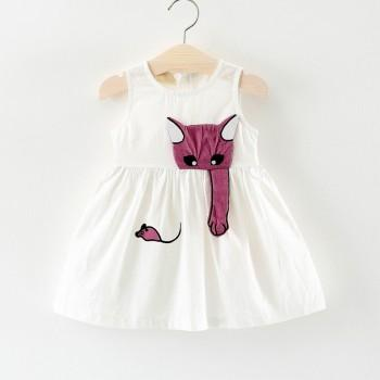 Toddler Girl's Cute Cat and Mouse Sleeveless Dress