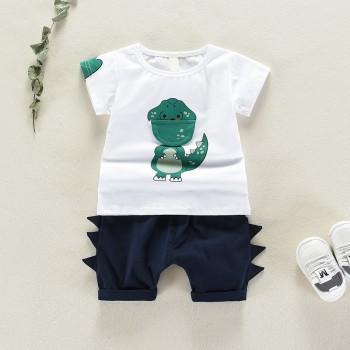 Cute Dinosaur Print Short-sleeve Tee and Shorts Set for Baby and Toddler Boy