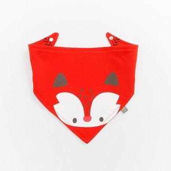 Cute Fox Print Red Bib for Baby