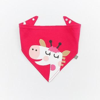 Cute Giraffe Print Hot Pink Bib for Baby