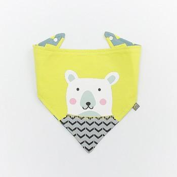 Cute Bear Wave Stripes Print Yellow Bib for Baby