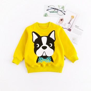 Cute Dog Print Long Sleeves Pullover for Baby