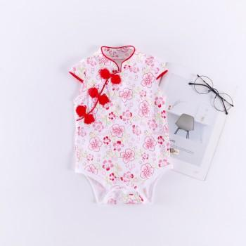 Toddler Girl's Elegant Floral Cap-sleeve Cheongsam Bodysuit with Knot Button