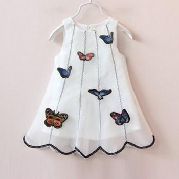 Pretty Butterfly Applique Sleeveless Mesh Dress for Girls