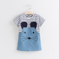 Cute Mouse Embroidery Striped Short Sleeve Dress for Baby Girl