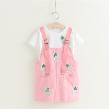 Adorable Pineapple Applique Short Sleeve T-shirt and Strap Skirt Set for Baby Girl