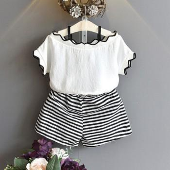 Trendy Off-shoulder Short-sleeve T-shirt and Striped Shorts Set in White for Toddler Girl and Girl