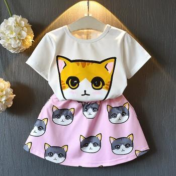 Cute Cat Print Short-sleeve T-shirt and Skirt Set in White for Toddler Girl and Girl