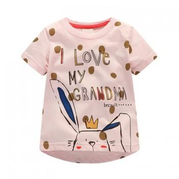 Cute Rabbit Print Polka Dot Short-sleeve T-shirt for Baby Girl and Girl