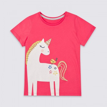 Cute Unicorn Print Short-sleeve T-shirt for Baby Girl and Girl