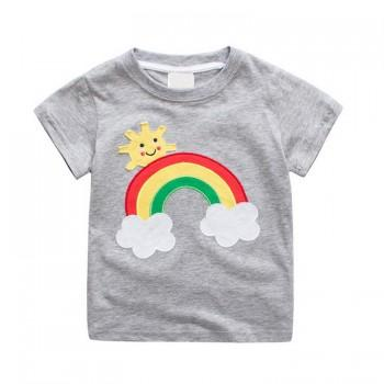 Stylish Rainbow and Sun Applique Short-sleeve T-shirt for Baby Boy and Boy
