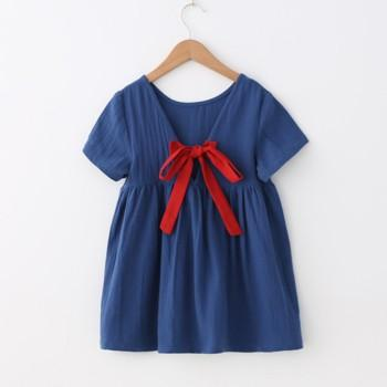 Stylish Solid Short-sleeve Dress With Red Bowknot For Girls