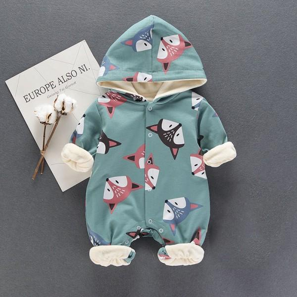 Lovely Fox Hooded Long-sleeve Fleece Lining Baby One Piece