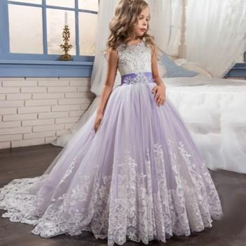 Enchanting Lace Design Bow Detail Party Dress For Girl