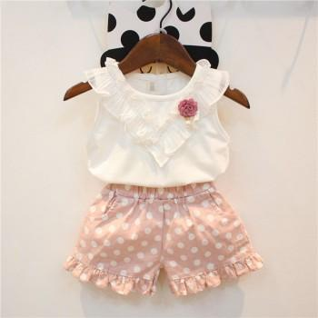 2-piece Floral Decor Ruffled Tank Top and Polka Dotted Shorts for Girls