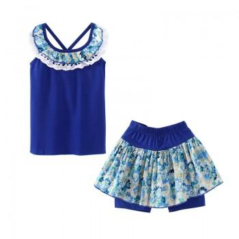 Fashionable Floral Color-blocking Ruffled Sleeveless Tee and Skirt Shorts Set for Toddler Girl and Girl