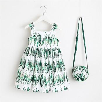 Toddler Girl's Pea Pods Pattern Pleated Strap Dress with Bag
