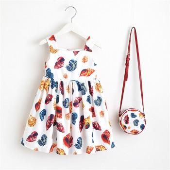Toddler Girl's Conch Pattern Strap Dress with Bag