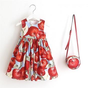 Toddler Girl's Apple Pattern Pleated Strap Dress with Bag