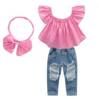 3-piece Sweet Ruffled Pink Top Rip Jeans and Headband for Toddler Girl