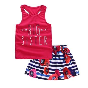 2-piece Big Sister Print Tank and Floral Striped Skirt Set
