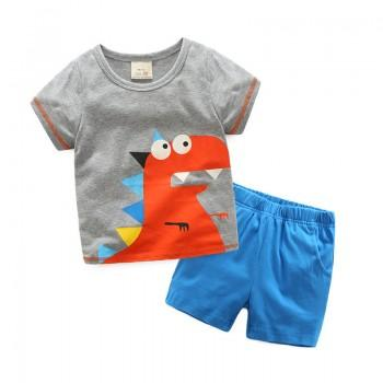 2-piece Fun Dinosaur Short Sleeves Top and Shorts for Boys