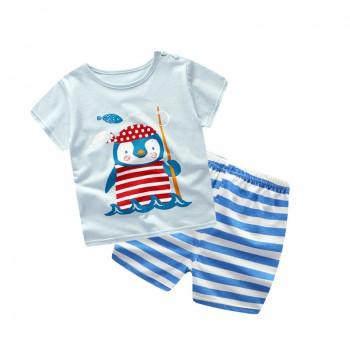 2-piece Penguin Print Short-sleeve Tee and Striped Pants Set for Toddler Boy