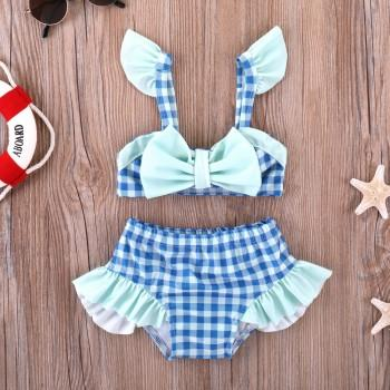 2-piece Cute Plaid Bow Swimsuit Set for Toddler Girl