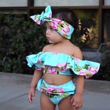 3-piece Pretty Flounced Floral Swimsuit Set for Baby Girl