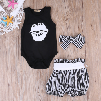 Lip Print Bodysuit Striped Shorts and Headscarf Set for Baby Girl
