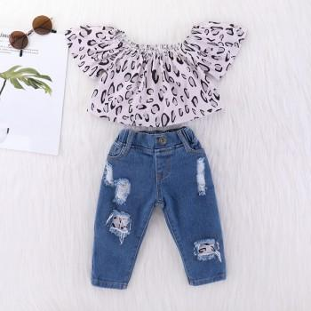 Chic Graphic Print Short-sleeve Top and Denim Pants Set for Toddler Girl