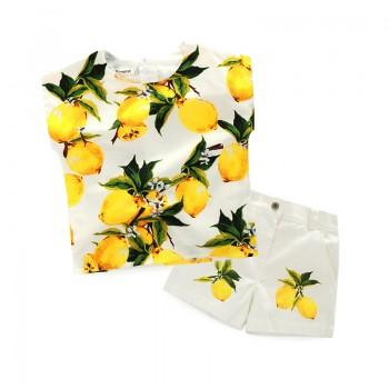 2-piece Lemon Print Sleeveless Top and Shorts for Girls